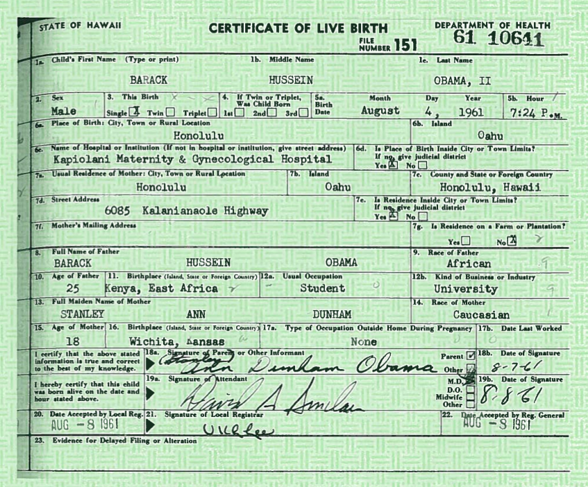 April 2011 zerodegrees101 the white house has released the long form of president barack obamas hawaii birth certificate according to the new york times yelopaper Image collections